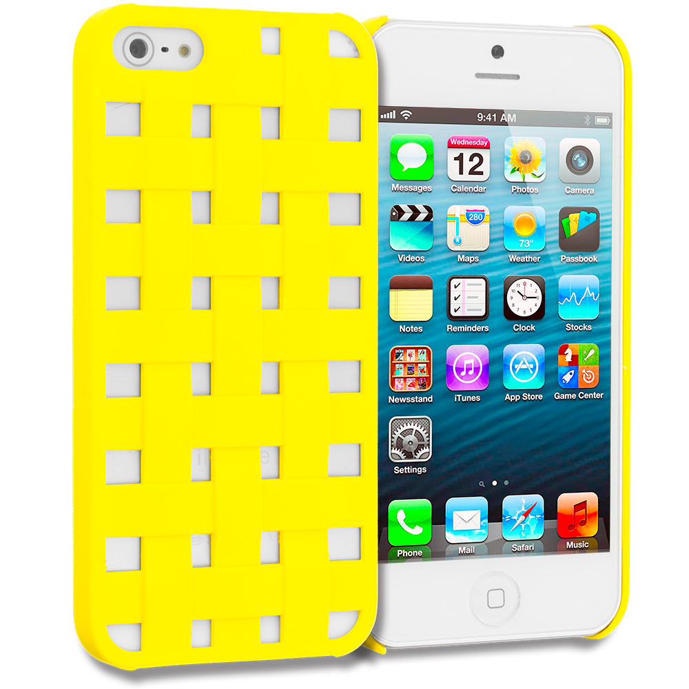 Apple iPhone 5/5S/SE Combo Pack : Baby Blue Handwoven Hard Rubberized Back Cover Case : Color Yellow Handwoven
