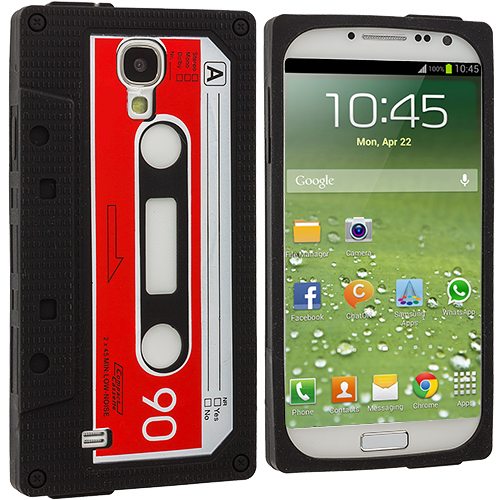 Samsung Galaxy S4 Black / Red Cassette Silicone Soft Skin Case Cover