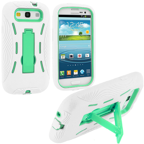 Samsung Galaxy S3 White / Mint Green Hybrid Heavy Duty Hard/Soft Case Cover with Stand