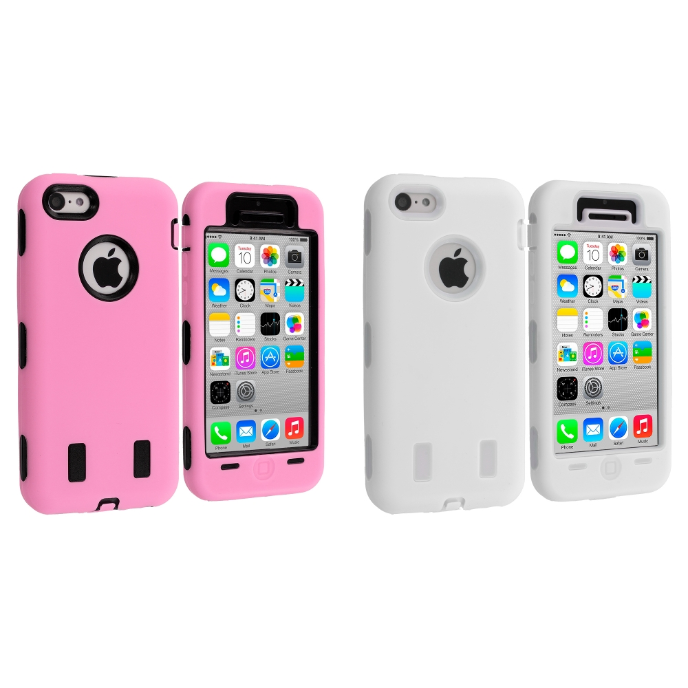 Apple iPhone 5C 2 in 1 Combo Bundle Pack - Pink / White Hybrid Deluxe Hard/Soft Case Cover