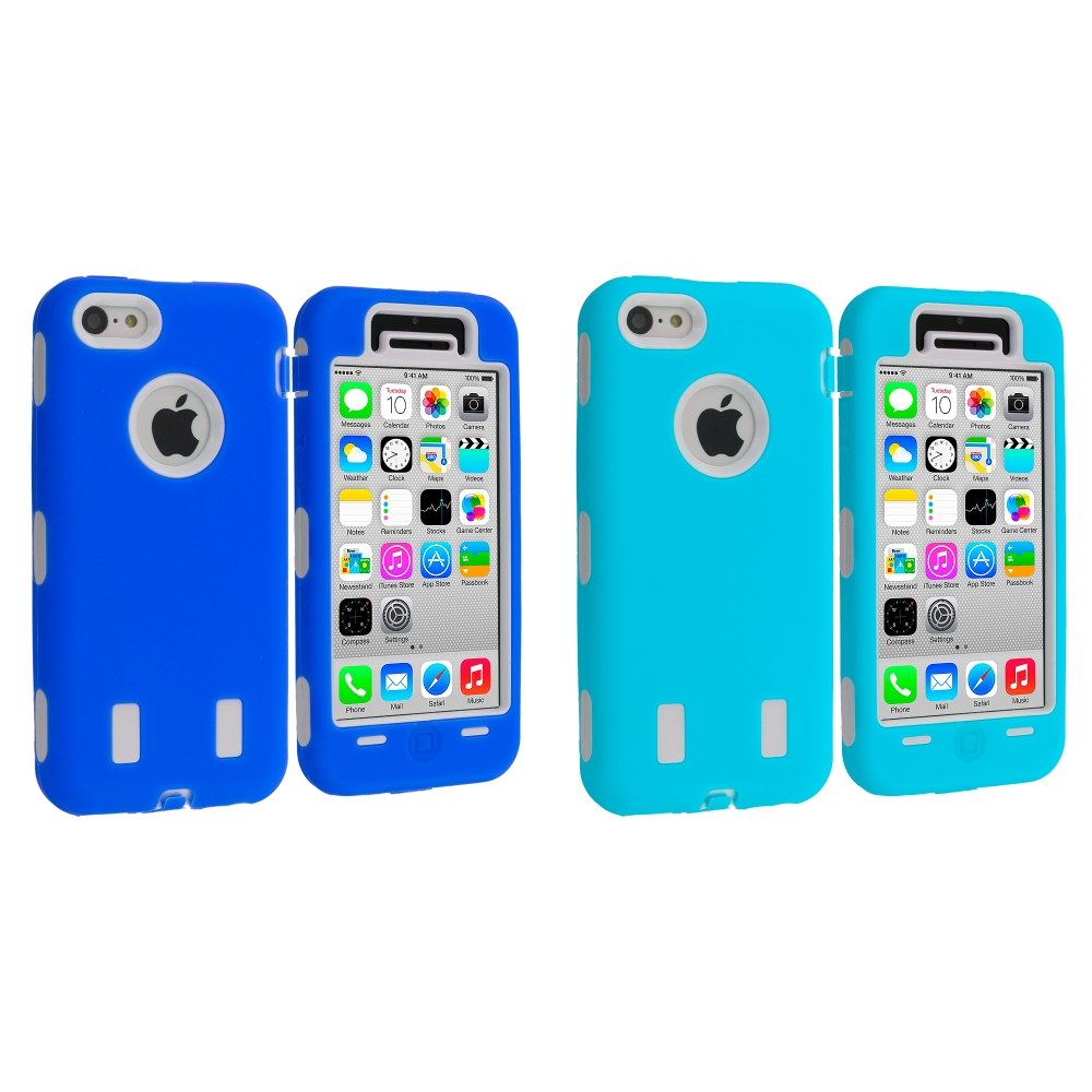Apple iPhone 5C 2 in 1 Combo Bundle Pack - Blue / White Hybrid Deluxe Hard/Soft Case Cover