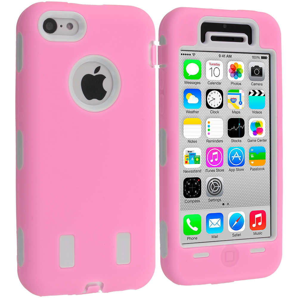Apple iPhone 5C Pink / White Hybrid Deluxe Hard/Soft Case Cover