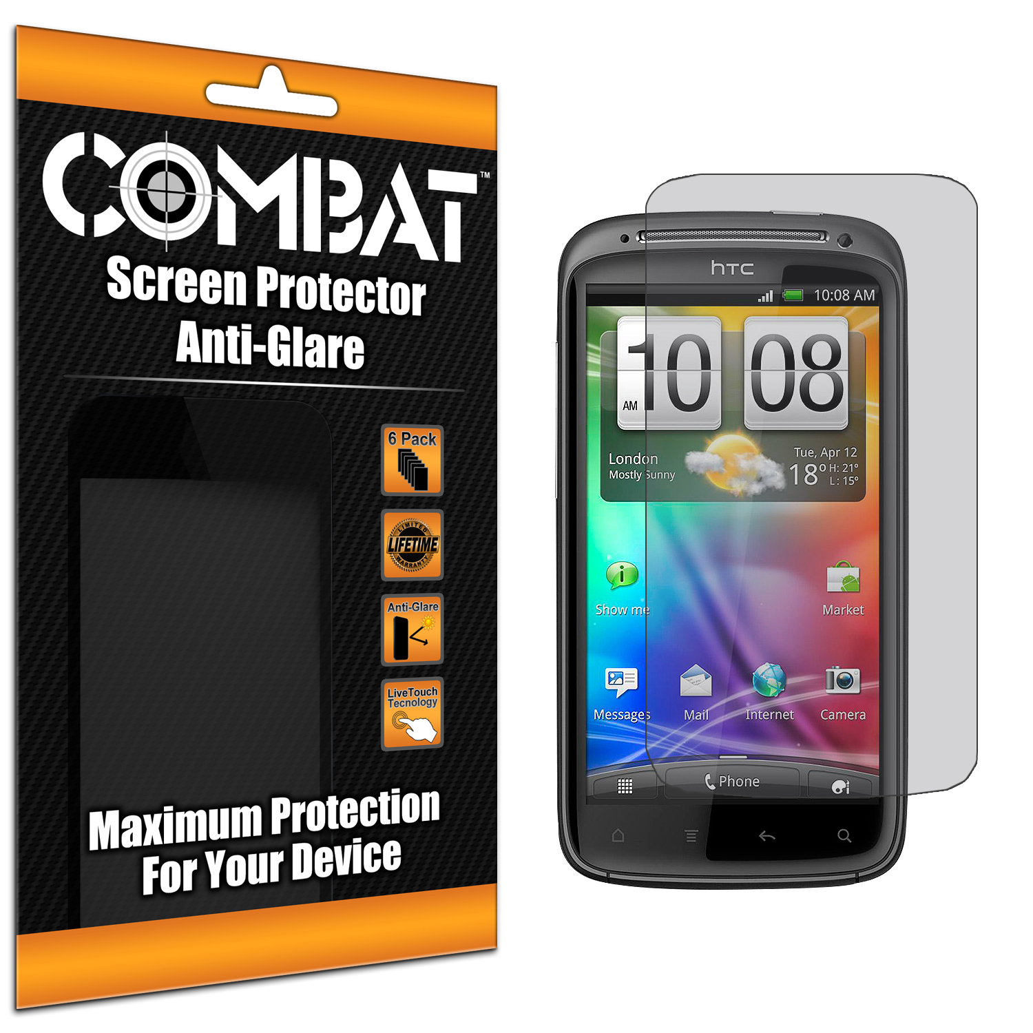 HTC Sensation 4G Combat 6 Pack Anti-Glare Matte Screen Protector