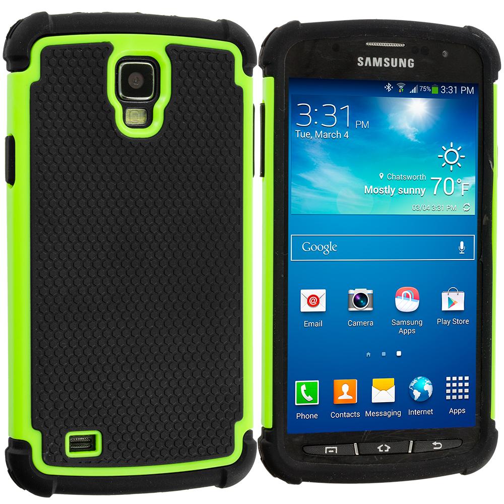 Samsung Galaxy S4 Active i537 Black / Neon Green Hybrid Rugged Hard/Soft Case Cover