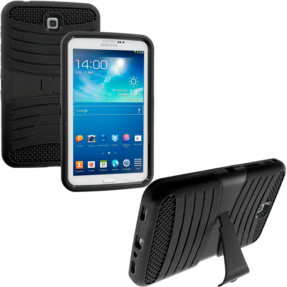 Samsung Galaxy Tab 3 7.0 Black / Black Hybrid Hard/Silicone Case Cover with Stand