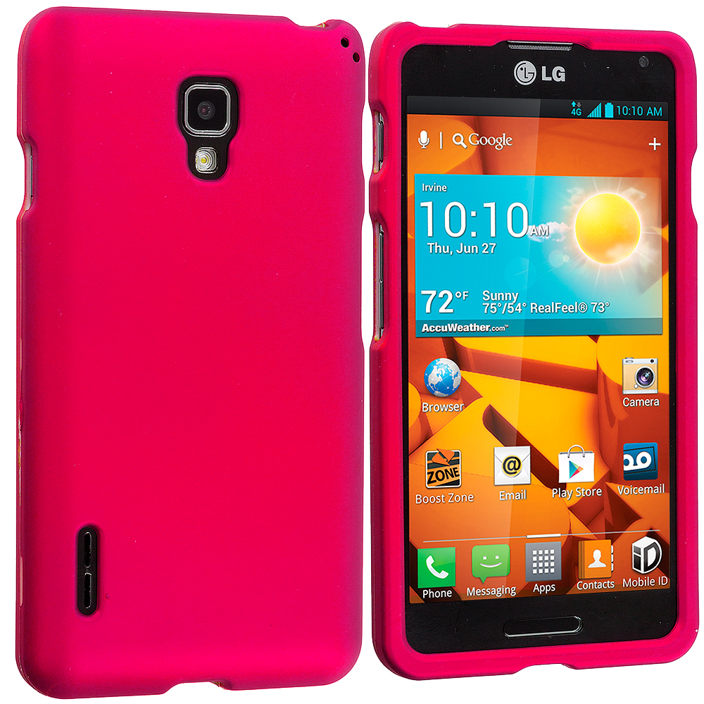 LG Optimus F7 Hot Pink Hard Rubberized Case Cover