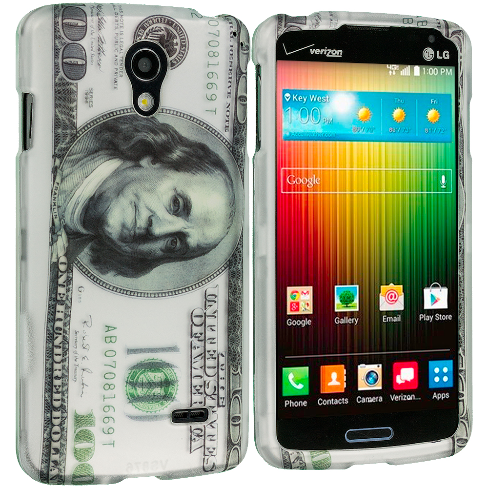 LG Lucid 3 VS876 Hundred Dollars 2D Hard Rubberized Design Case Cover