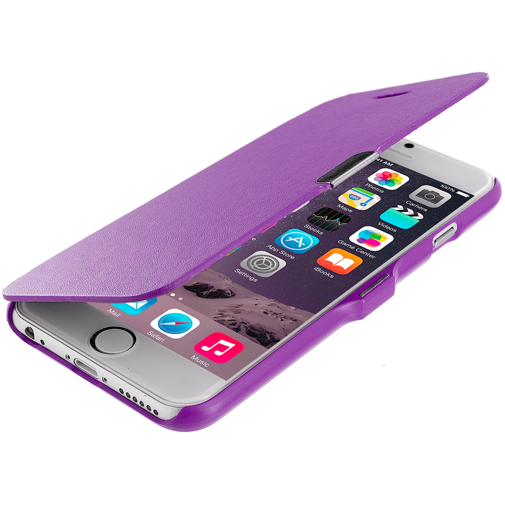 Apple iPhone 6 6S (4.7) 4 in 1 Combo Bundle Pack - Magnetic Wallet Case Cover Pouch : Color Purple