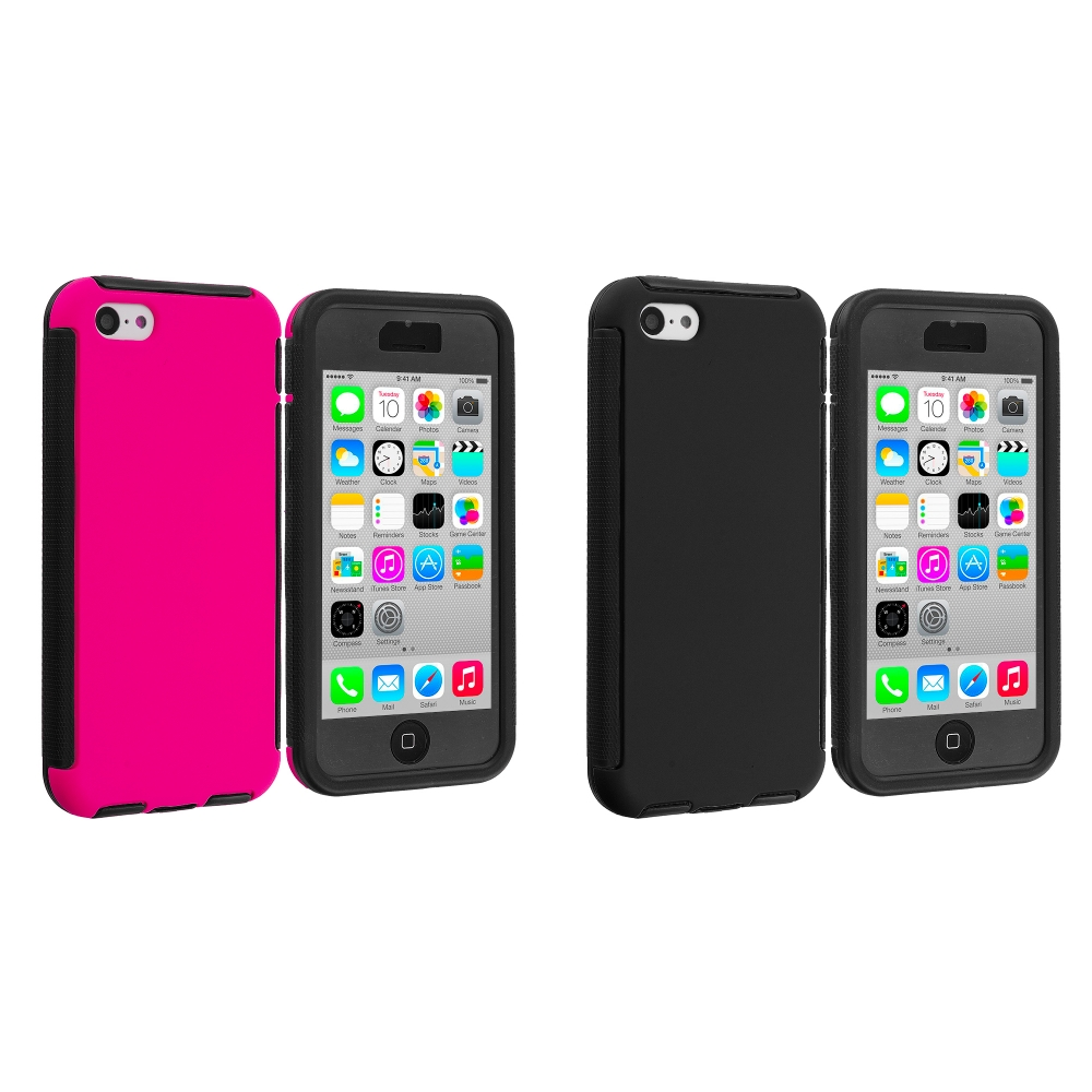 Apple iPhone 5C 2 in 1 Combo Bundle Pack - Black / Hot Pink Hybrid Hard TPU Shockproof Case Cover With Built in Screen Protector