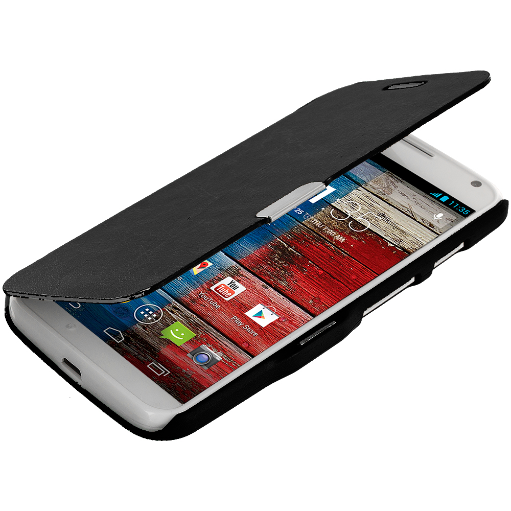 Motorola Moto X Black Magnetic Flip Wallet Case Cover Pouch