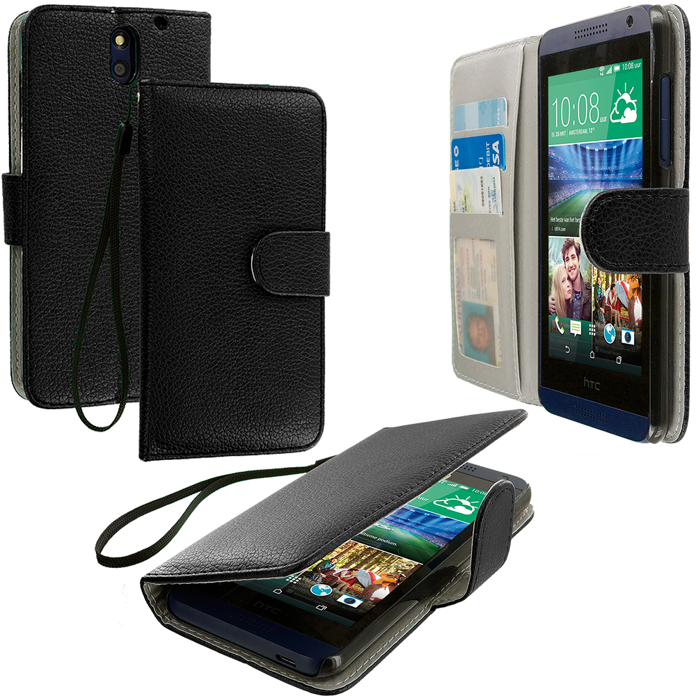 HTC Desire 610 Black Leather Wallet Pouch Case Cover with Slots