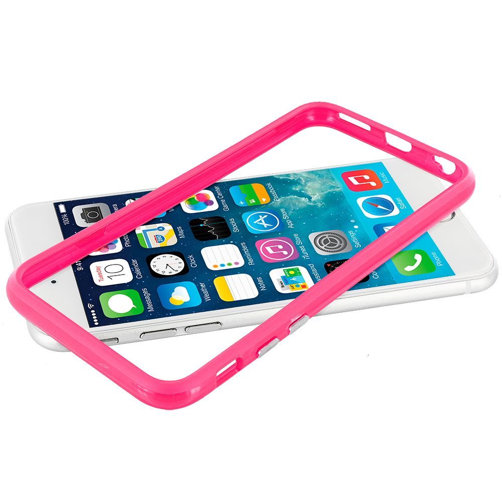 Apple iPhone 6 Plus 6S Plus (5.5) Hot Pink Hybrid TPU Bumper Case Cover