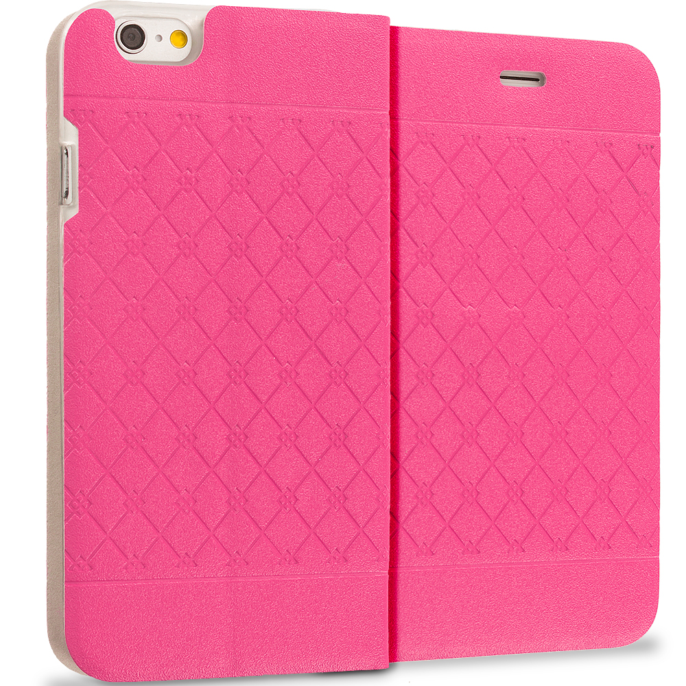 Apple iPhone 6 3 in 1 Bundle - Slim Wallet Plaid Luxury Design Flip Case Cover : Color Hot Pink