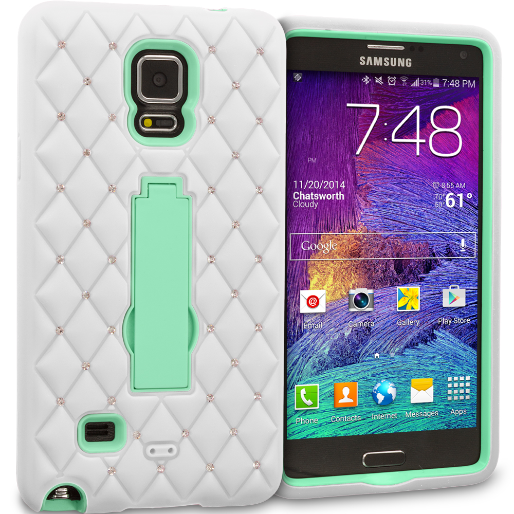 Samsung Galaxy Note 4 White / Mint Green Hybrid Diamond Bling Hard Soft Case Cover with Kickstand