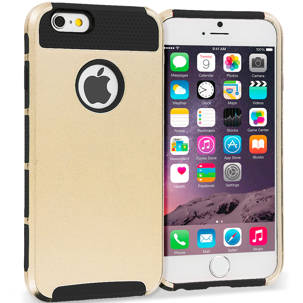 Apple iPhone 6 6S (4.7) 4 in 1 Combo Bundle Pack - Hybrid Hard TPU Honeycomb Rugged Case Cover : Color Gold / Black