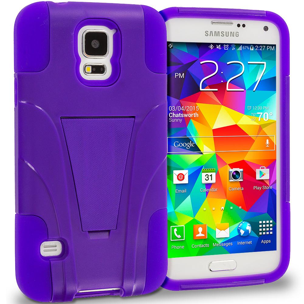 Samsung Galaxy S5 Purple / Purple Hybrid Hard Soft Shockproof Case Cover with Kickstand