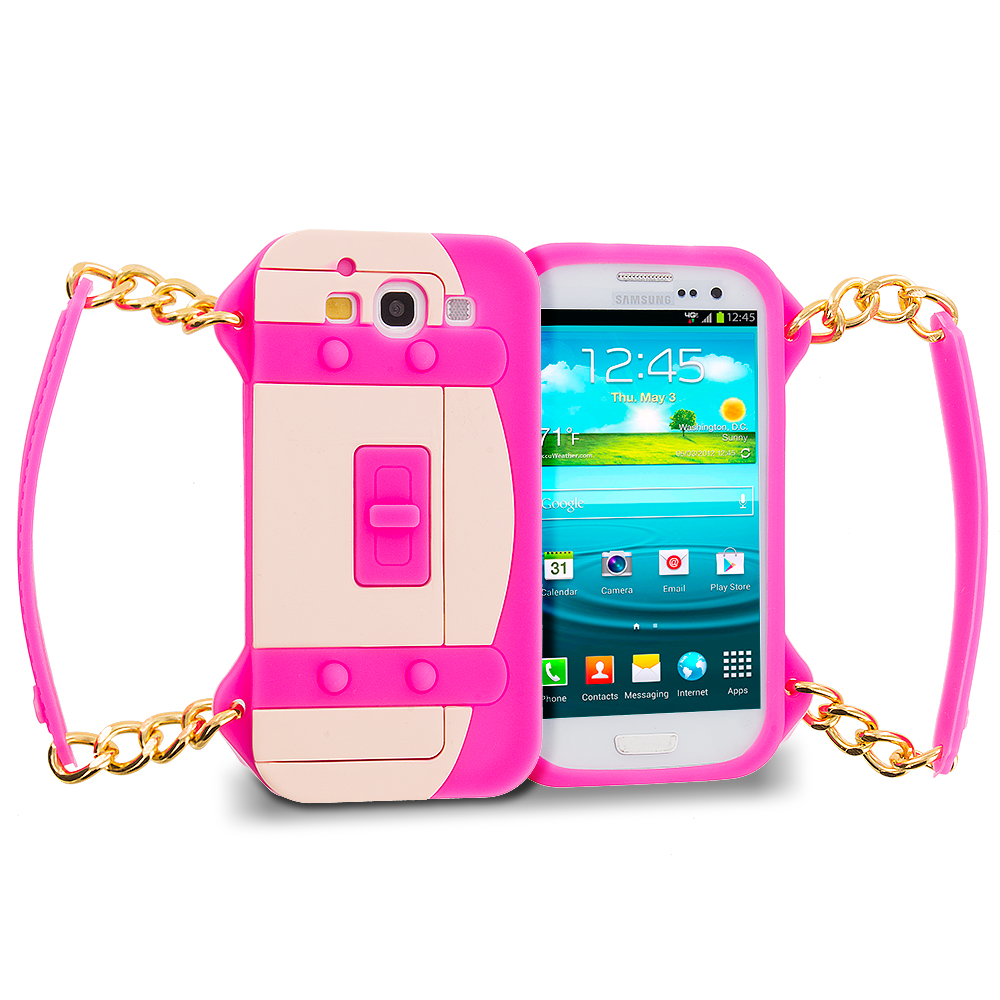 Samsung Galaxy S3 Hot Pink Handbag Silicone Design Soft Skin Case Cover