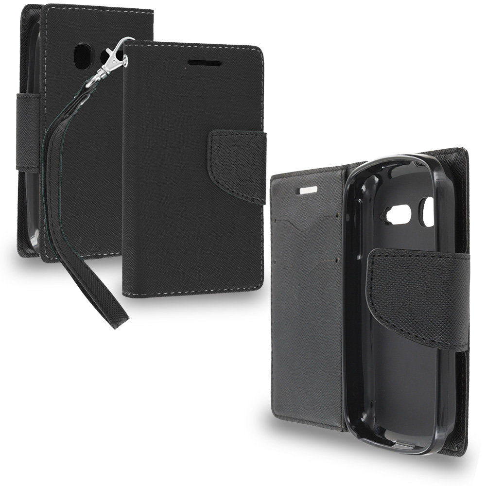 Alcatel One Touch Pop C1 Black / Black Leather Flip Wallet Pouch TPU Case Cover with ID Card Slots