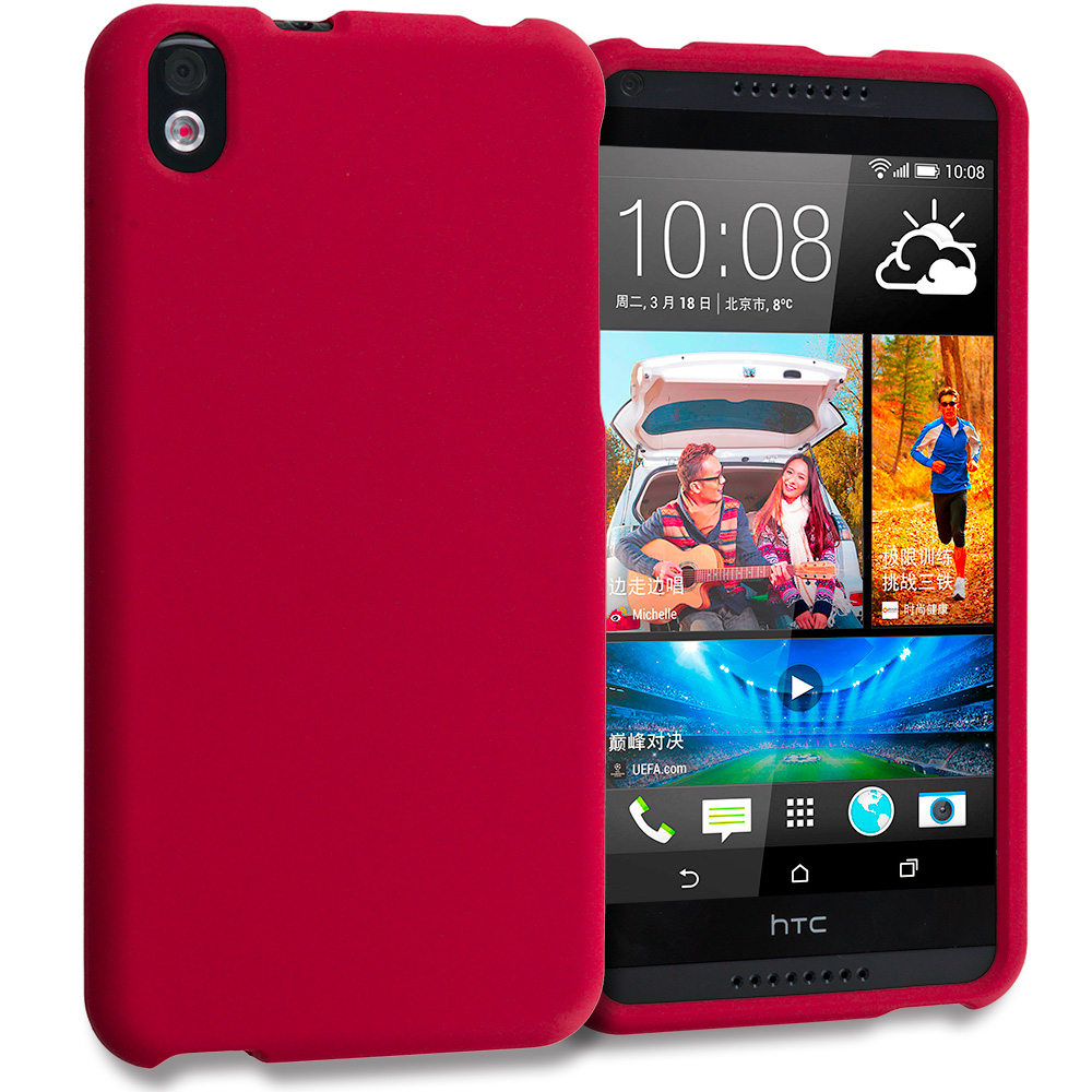 HTC Desire 816 Red Hard Rubberized Case Cover