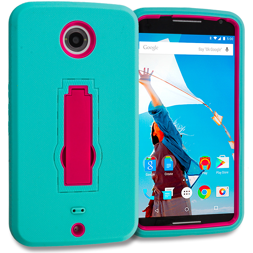 Motorola Google Nexus 6 Teal / Hot Pink Hybrid Heavy Duty Hard Soft Case Cover with Kickstand