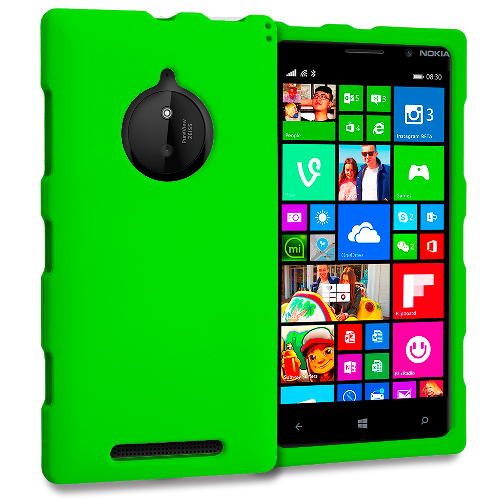 Nokia Lumia 830 Neon Green Hard Rubberized Case Cover