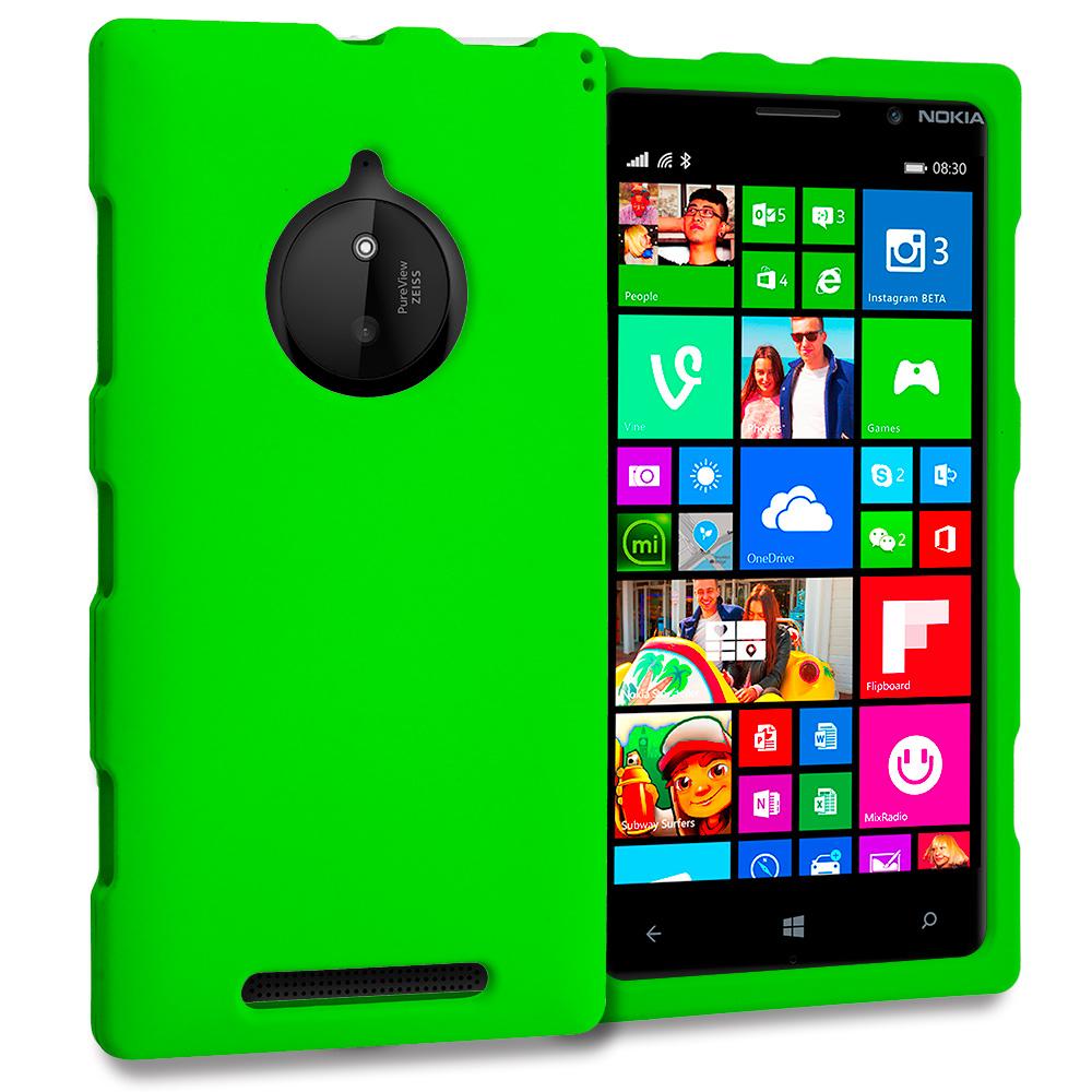 Nokia Lumia 830 Neon Green Hard Rubberized Case Cover