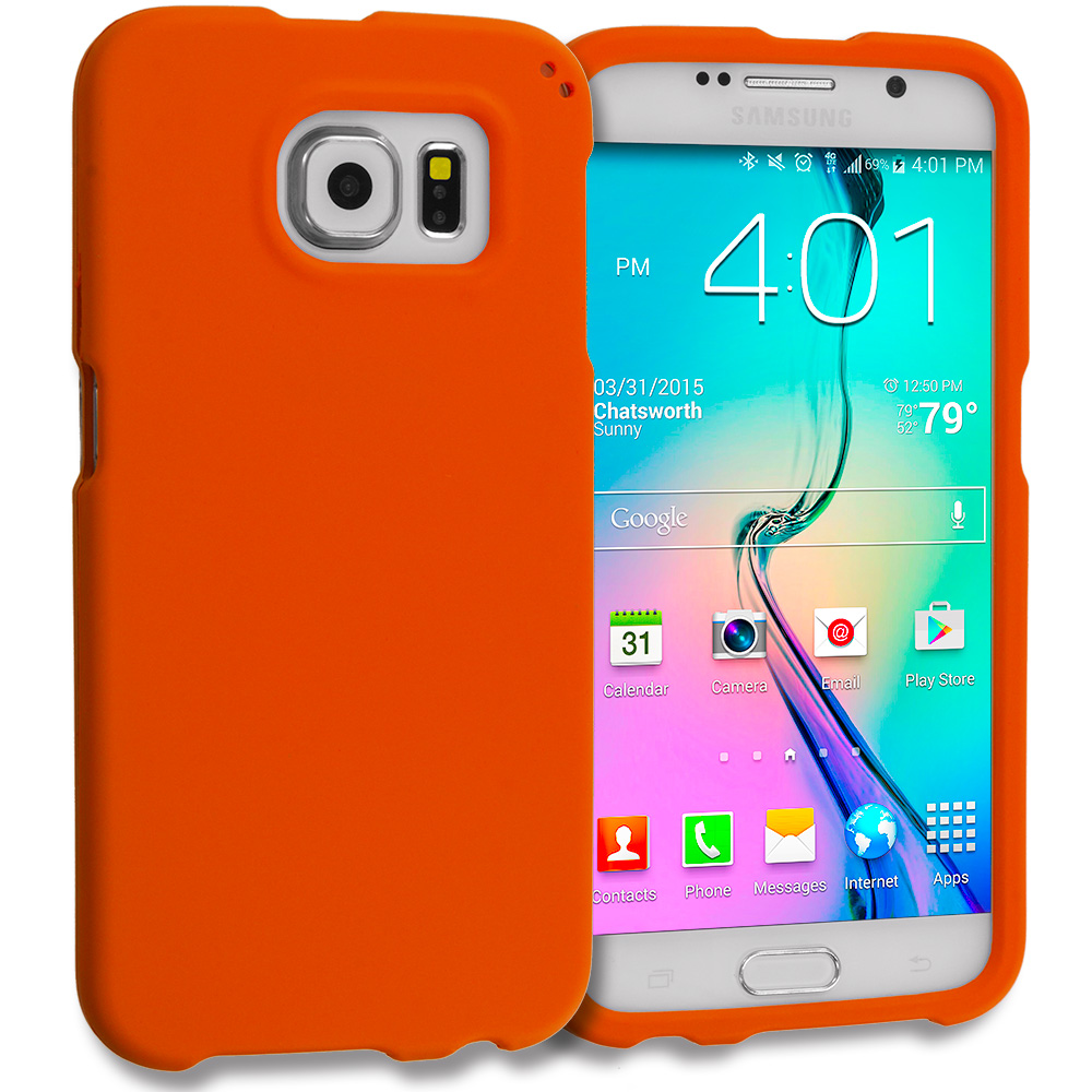 Samsung Galaxy S6 Combo Pack : Neon Green Hard Rubberized Case Cover : Color Orange