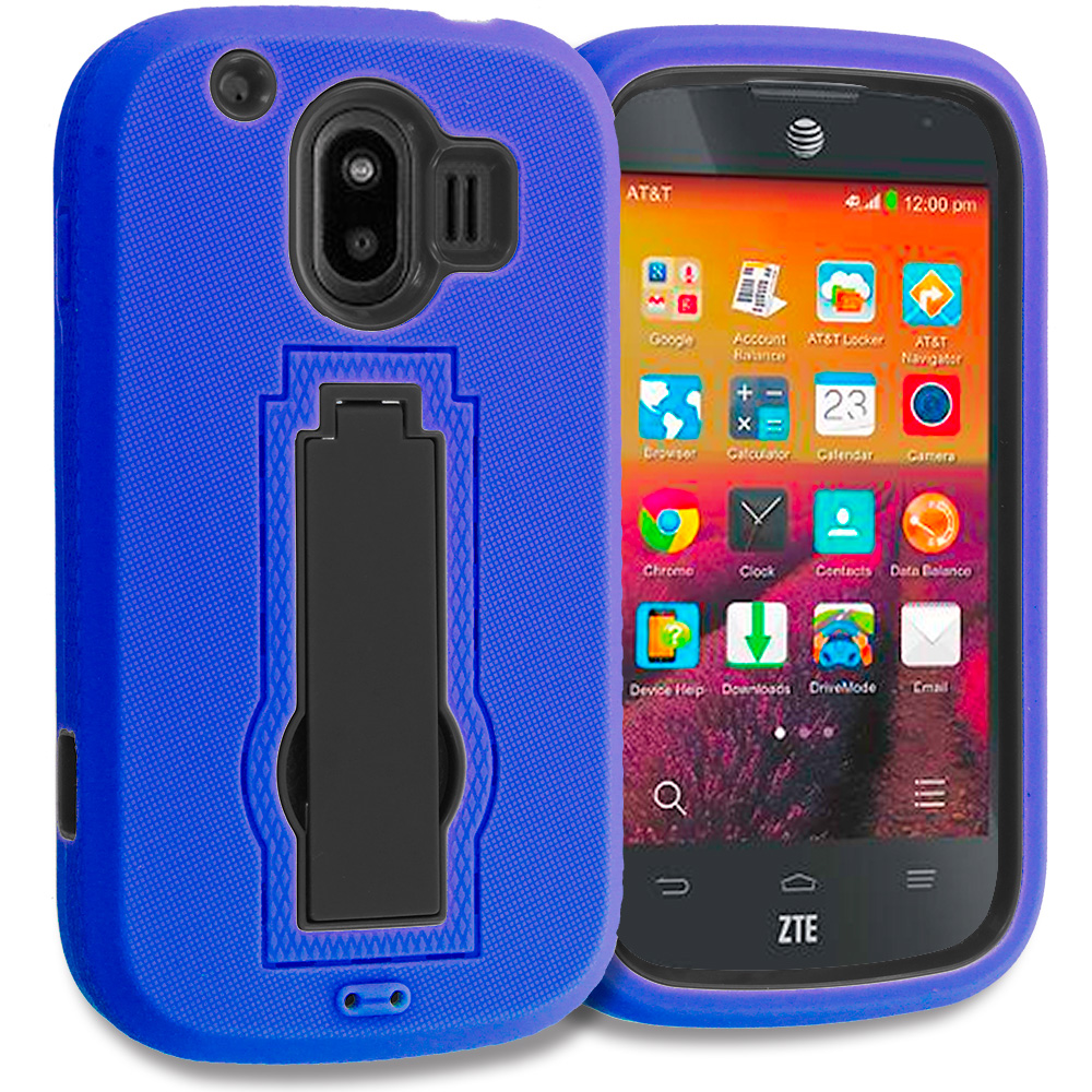 ZTE Compel Blue / Black Hybrid Heavy Duty Hard Soft Case Cover with Kickstand