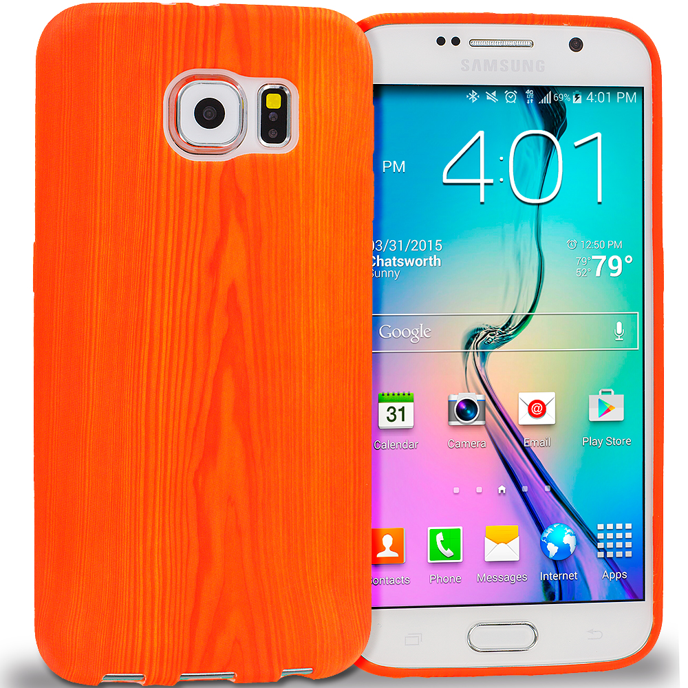 Samsung Galaxy S6 Wood Grain TPU Design Soft Rubber Case Cover