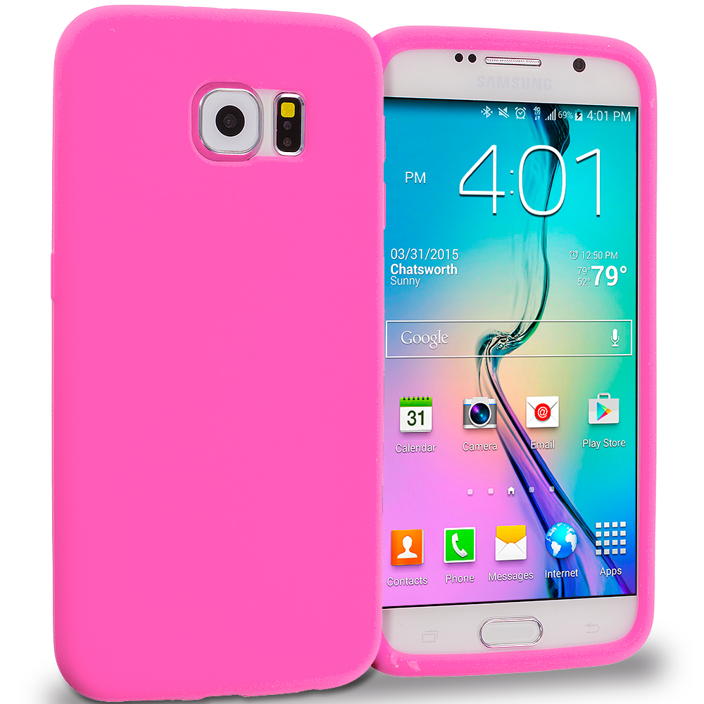 Samsung Galaxy S6 4 in 1 Combo Bundle Pack - Silicone Soft Skin Rubber Case Cover : Color Hot Pink