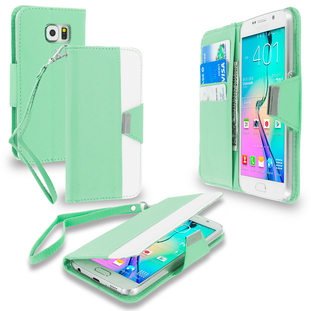 Samsung Galaxy S6 Combo Pack : Light Pink Wallet Magnetic Metal Flap Case Cover With Card Slots : Color Mint Green