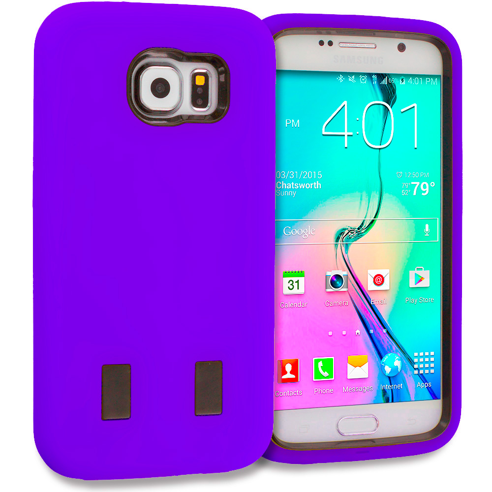 Samsung Galaxy S6 Purple / Black Hybrid Deluxe Hard/Soft Case Cover