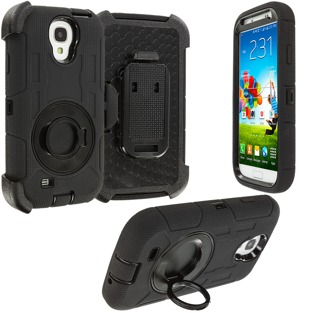Samsung Galaxy S4 Black Hybrid Heavy Duty Shockproof Armor Case Cover With Rotating Belt Clip Holster