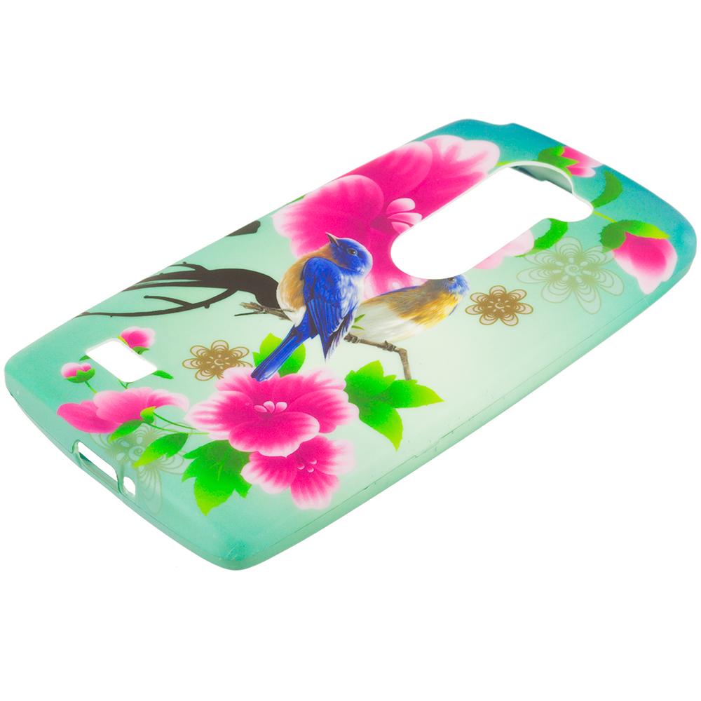 LG Tribute 2 Leon Power Destiny Blue Bird Pink Flower TPU Design Soft Rubber Case Cover