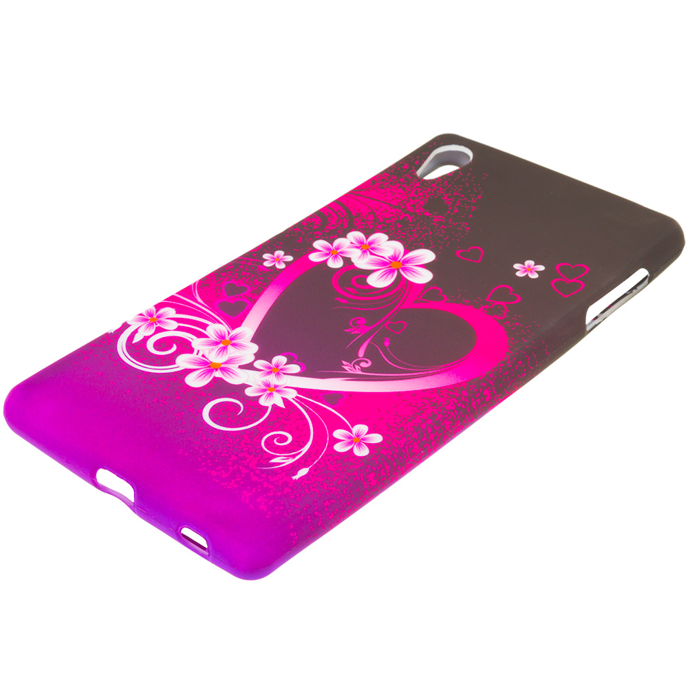 Sony Xperia Z4v Purple Love TPU Design Soft Rubber Case Cover