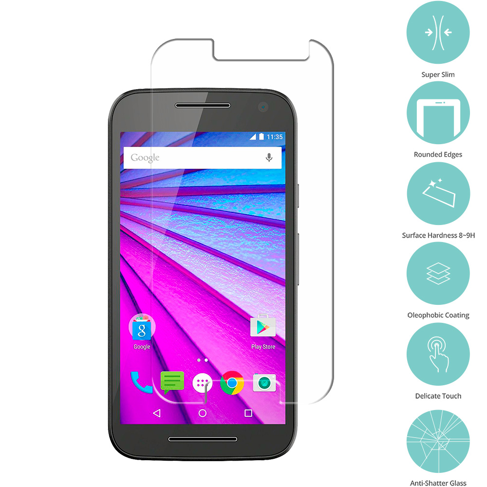 Motorola Moto G 3rd Gen 2015 Clear Tempered Glass Film Screen Protector Clear