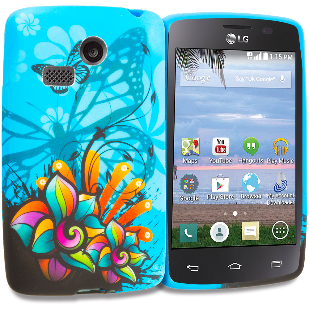 LG Sunrise Lucky L15G L16C Blue Butterfly Flower TPU Design Soft Rubber Case Cover