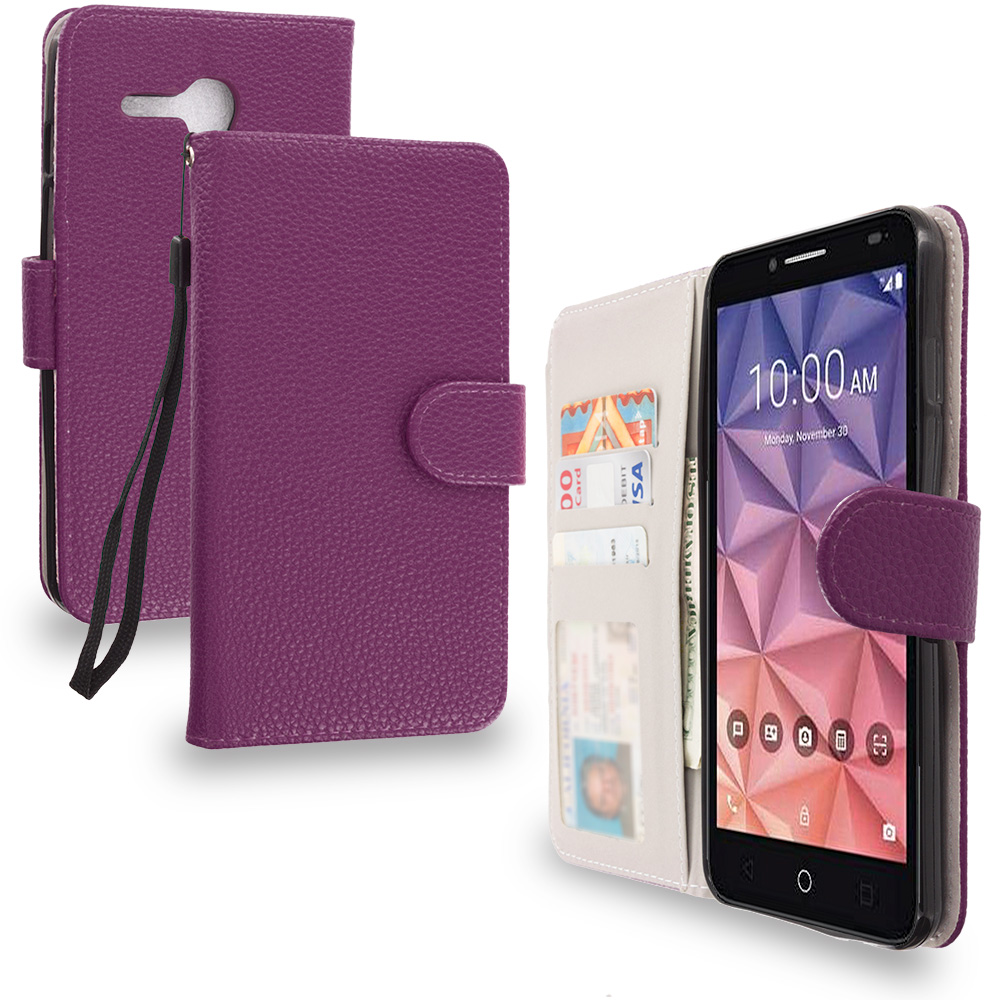 Alcatel OneTouch Fierce XL Purple Leather Wallet Pouch Case Cover with Slots
