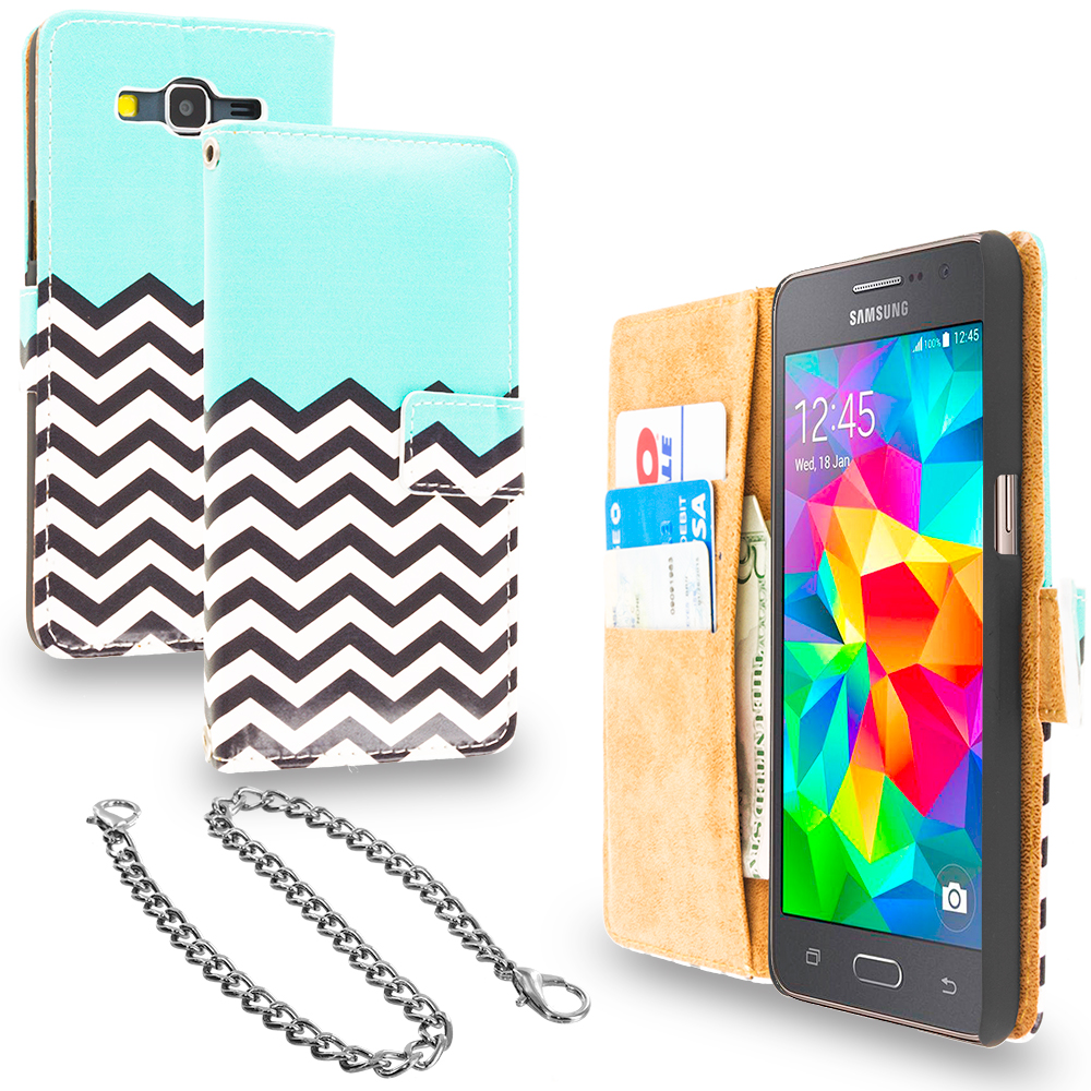 Samsung Galaxy Grand Prime LTE G530 Mint Green Zebra Design Wallet Flip Pouch Case Cover with Credit Card ID Slots