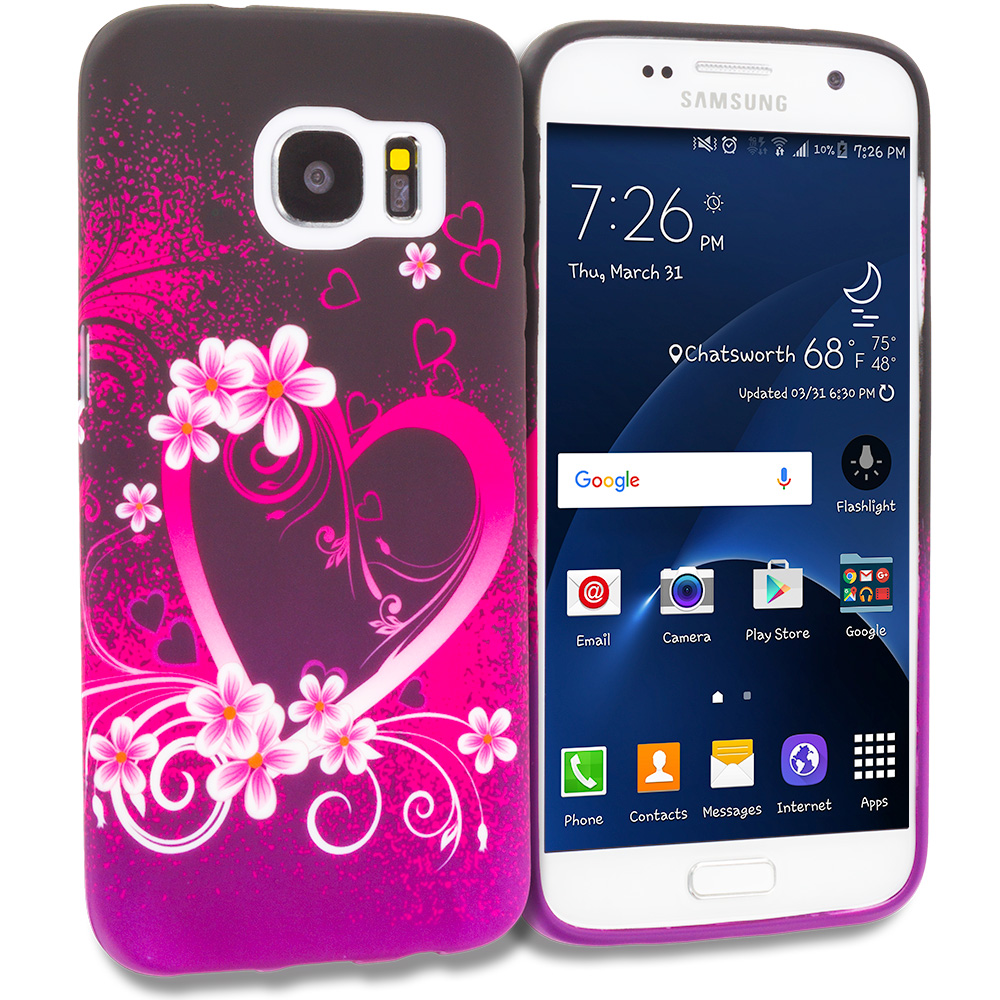 Samsung Galaxy S7 Purple Love TPU Design Soft Rubber Case Cover
