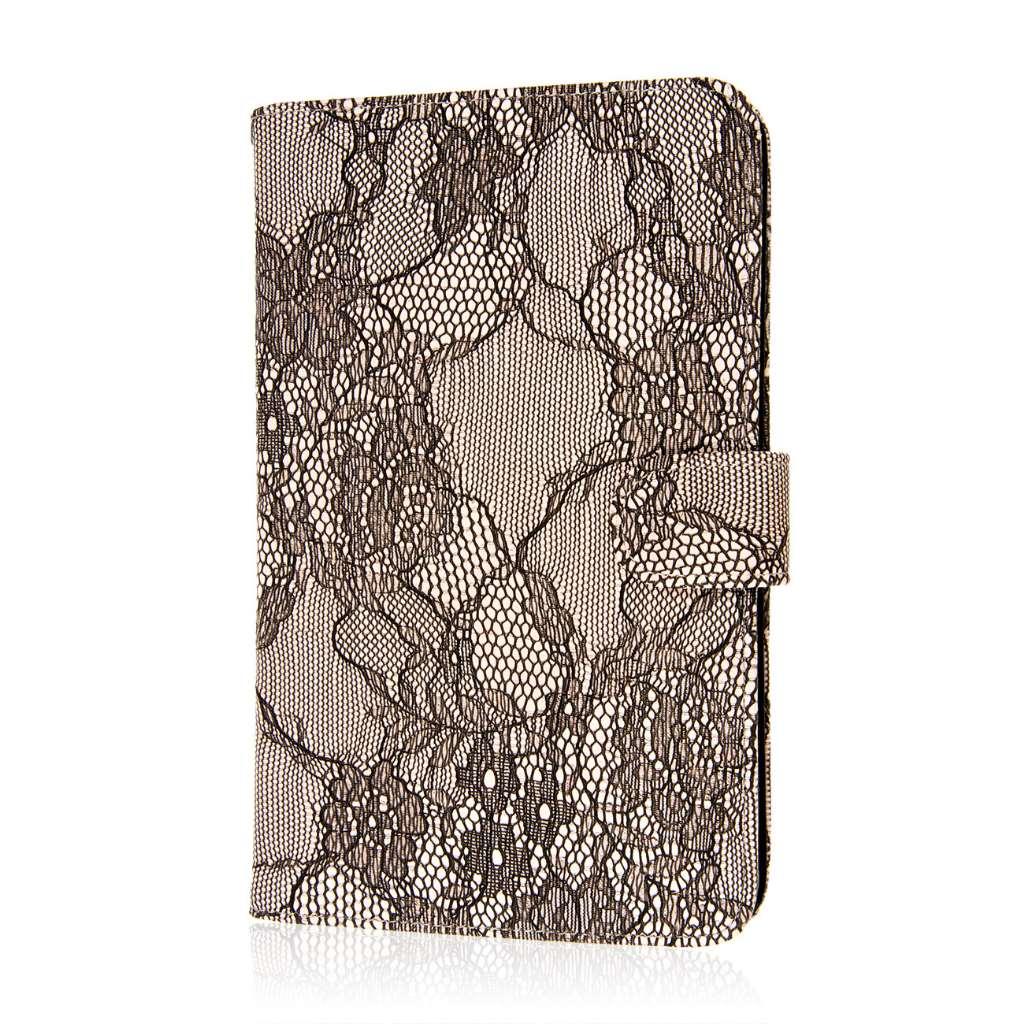 Alcatel OneTouch Pop 7 - Black Lace MPERO FLEX FLIP Wallet Case Cover