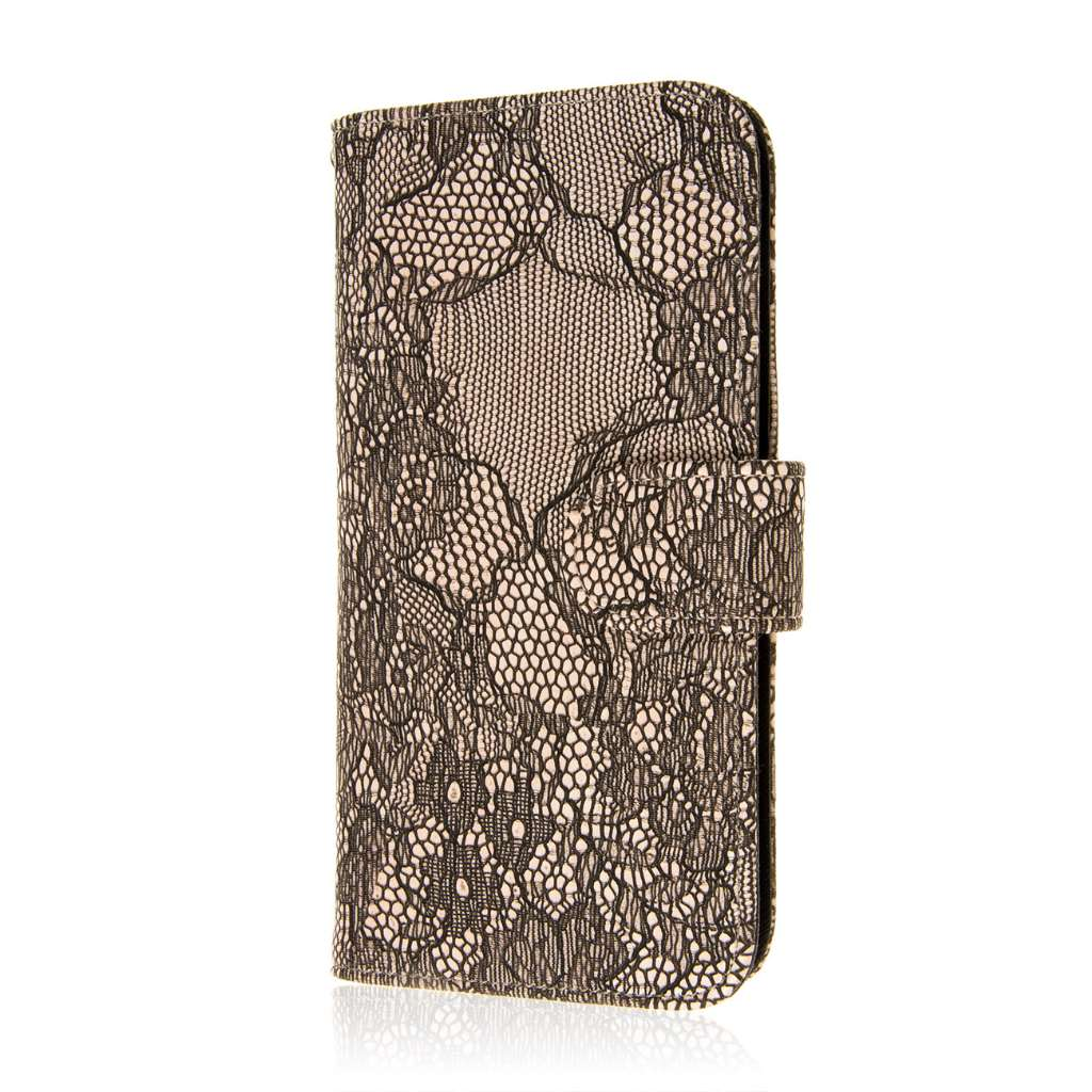 Apple iPhone 6 6S Plus - Black Lace MPERO FLEX FLIP Wallet Case Cover