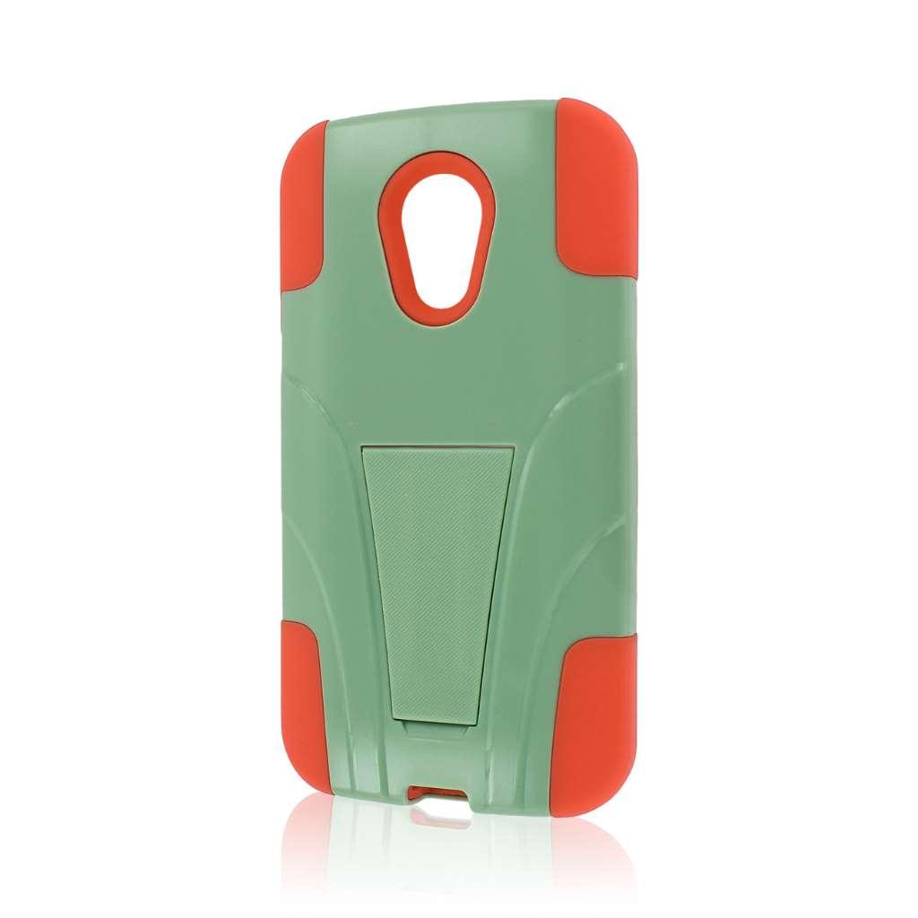 Motorola Moto G 2nd Gen 2014 - Coral / Mint MPERO IMPACT X - Kickstand Case
