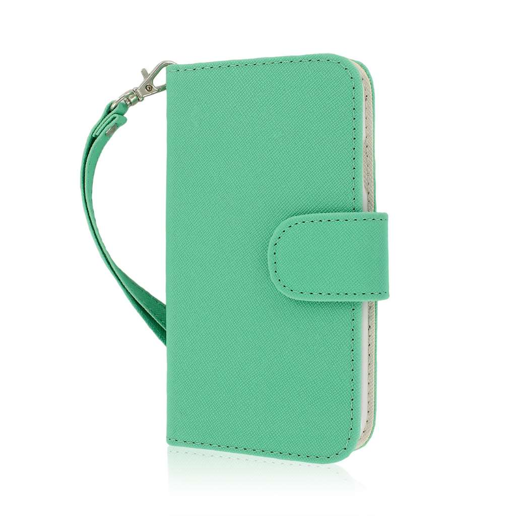 Samsung Galaxy S4 I9500 I905 L720 - Mint / White MPERO FLEX FLIP Wallet Case