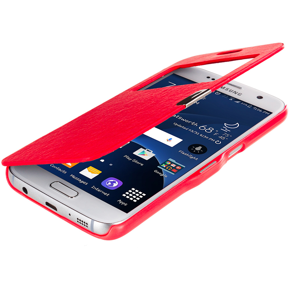 Samsung Galaxy S7 Combo Pack : Neon Green With Window Magnetic Flip Wallet Case Cover Pouch : Color Red With Window