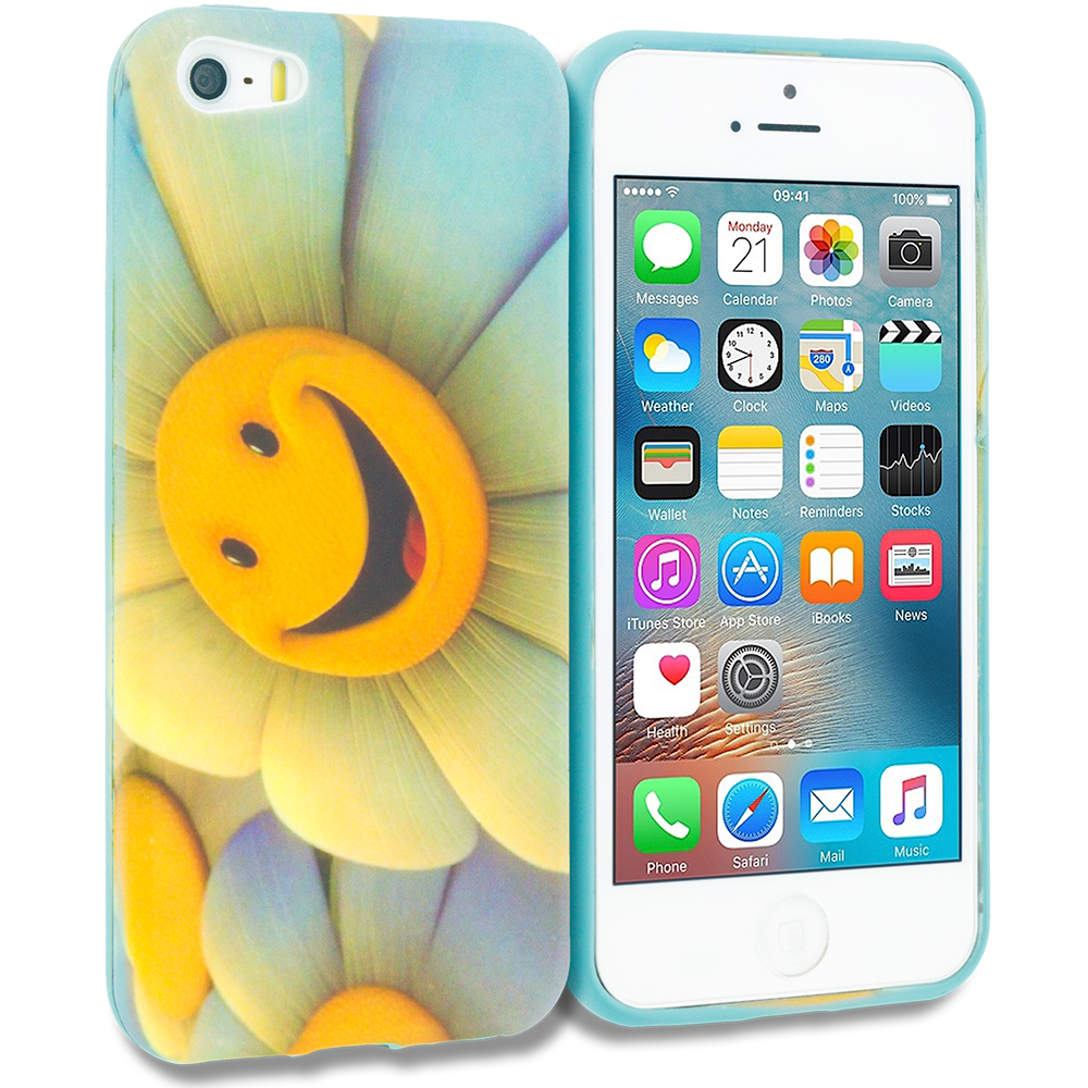 Apple iPhone 5/5S/SE Combo Pack : Smiley Face TPU Design Soft Rubber Case Cover : Color Sunflower