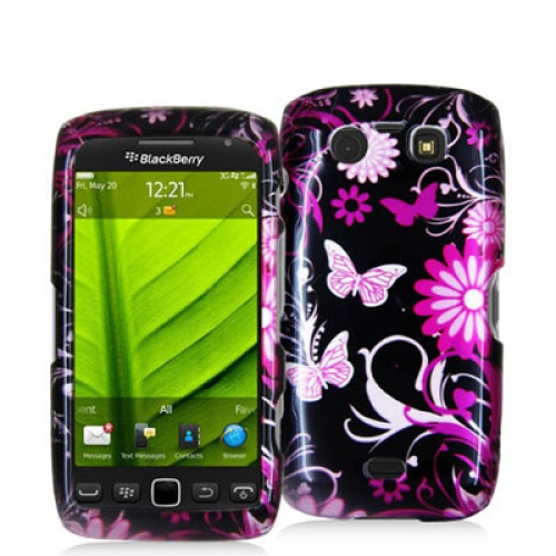BlackBerry Torch 9850 9860 Pink Butterfly Flower Design Crystal Hard Case Cover