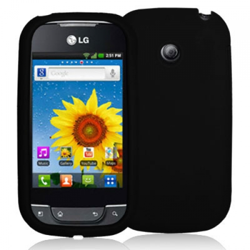 LG Optimus Net P690 Black Silicone Soft Skin Case Cover