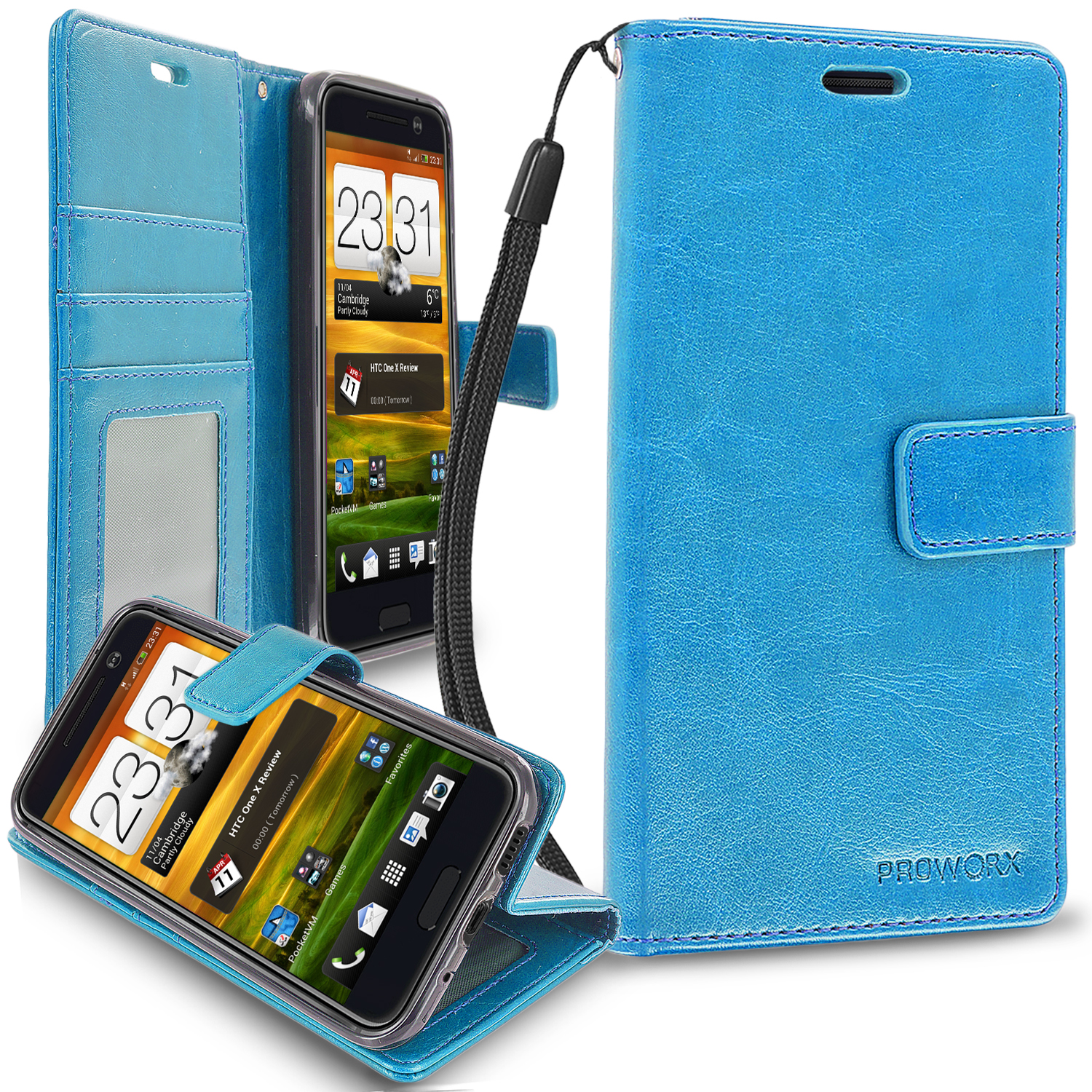 HTC One 10 M10 Baby Blue ProWorx Wallet Case Luxury PU Leather Case Cover With Card Slots & Stand