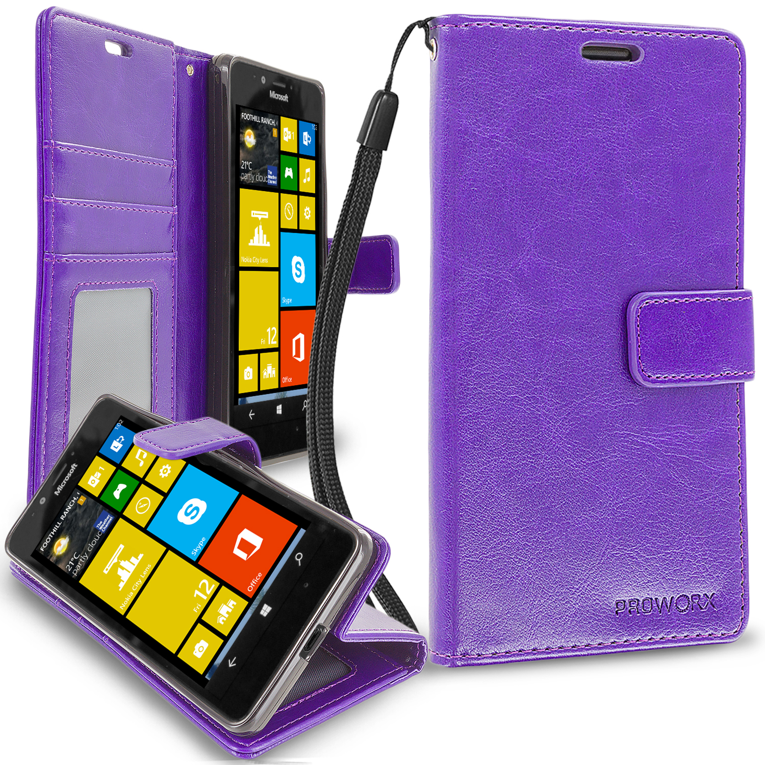 Microsoft Lumia 950 Purple ProWorx Wallet Case Luxury PU Leather Case Cover With Card Slots & Stand